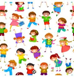 cartoon kids pattern vector image vector image