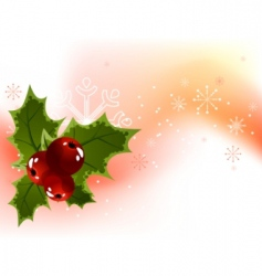 Christmas holly berry background vector image vector image