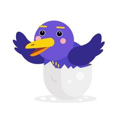 cute newborn blue bird character funny chick in vector image vector image