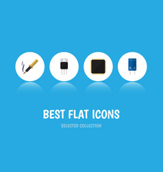 Flat icon appliance set of cpu transistor repair vector
