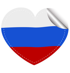 russia flag in heart shape vector image vector image