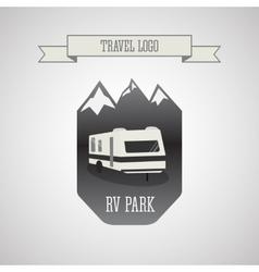 Rv and caravan park logo badges outdoor theme vector