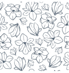 spring seamless pattern with magnolia vector image vector image