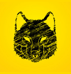 wolf face front view fox mask vector image vector image