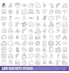 100 society icons set outline style vector