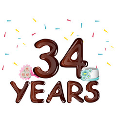 34 years anniversary celebration greeting card vector image