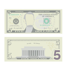 5 dollars banknote cartoon us currency vector