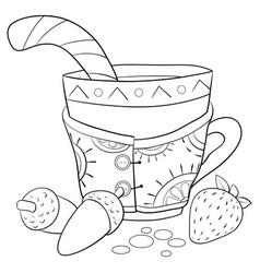 Adult coloring bookpage a christmas cup vector