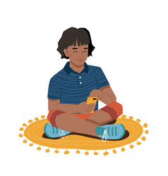 Afro american girl sits on floor with smartphone vector