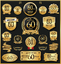 Anniversary retro vintage golden badges vector