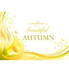 Autumn background with calla flower falling vector image