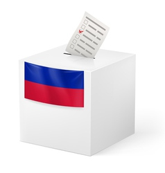 Ballot box with voting paper Haiti vector