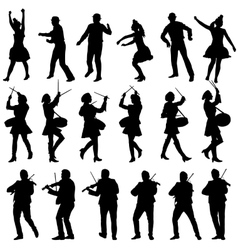 Black silhouettes of beautiful mans and womans vector