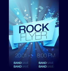 blue rock festival flyer design template for party vector image