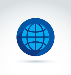 Blue simple planet icon placed in a circle earth vector