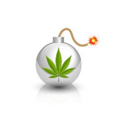 Burning bomb icon with marijuana hemp cannabis vector