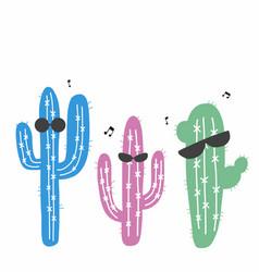 Cactus dancing cartoon vector