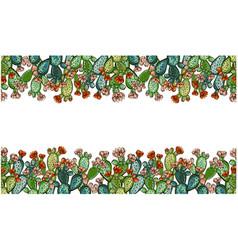 cactus hand drawn seamless pattern creative vector image