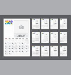 Calendar colorful planner for 2022 week vector