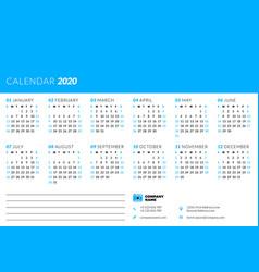 calendar for 2020 year week starts on sunday vector image
