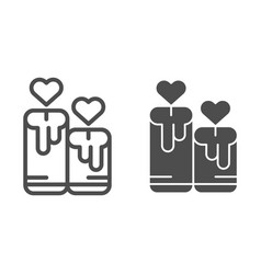 Candles with heart line and glyph icon love vector