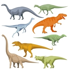 Cartoon dinosaurus reptiles set vector image