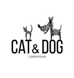Cat and Dog logo vector image
