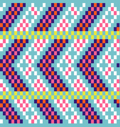 chevron pixel art seamless pattern blue purple vector image