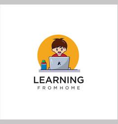 Child home learning logo design learn online logo vector