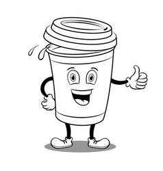 Coffee cup and thumb up coloring book vector