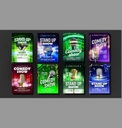 Colorful collection comedy show posters set vector