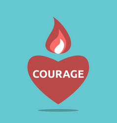 courageous heart with flame vector image