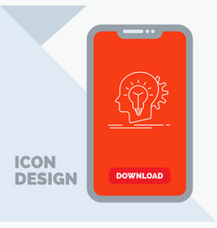 creative creativity head idea thinking line icon vector image