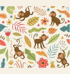 Cute and funny monkeys seamless pattern vector