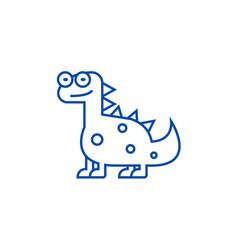 cute dinodinosaur line icon concept cute dino vector image
