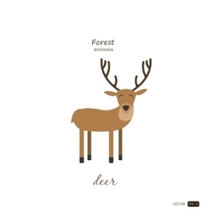 Deer in cartoon style on white background vector image