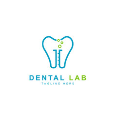 dental logo design templatedental with lab vector image