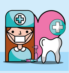 dentist girl tooth tools hygiene treatment vector image