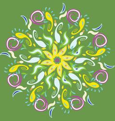 Diwali rangoli beautifull on green vector