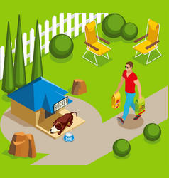 Dog ordinary life isometric vector