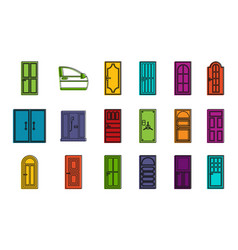 door icon set color outline style vector image