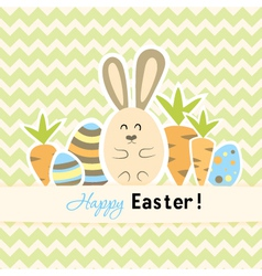 Easter green card with carrots and rabbit vector