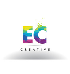 Ec e c colorful letter origami triangles design vector