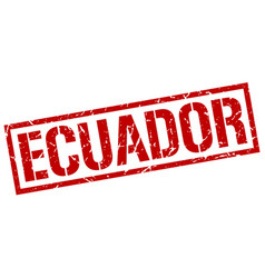 ecuador red square stamp vector image
