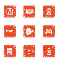 Esport player icons set grunge style vector