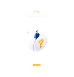 faq section - modern isometric web banner vector image