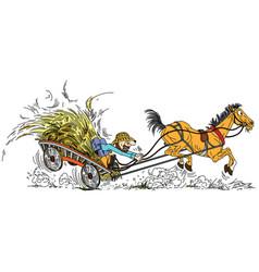Farmer with hay cart vector