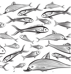 fish seamless pattern seafood background swimming vector image