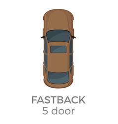 five doors fastback top view flat icon vector image
