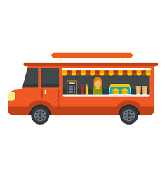 food festival red truck icon flat style vector image